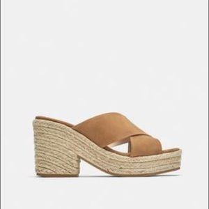 NEW Zara Tan Suede Platform Heels